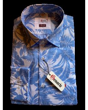 Camasa barbati imprimeu floral bleu SLIM FIT