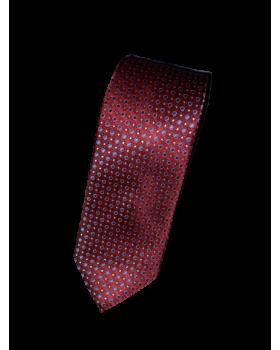 Cravată grena cu buline bleumarin
