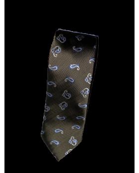 Cravată mătase maro cu model anemone