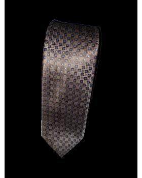 Cravată maro cu buline bleo